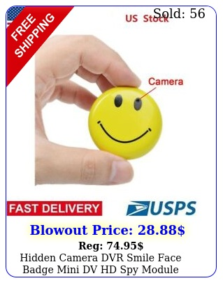 hidden camera dvr smile face badge mini dv hd spy module nanny cam us stoc