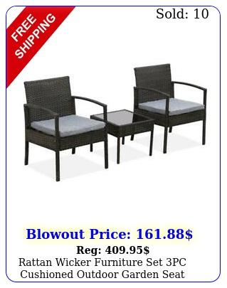 rattan wicker furniture set pc cushioned outdoor garden seat patio chair tabl