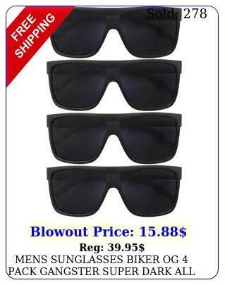 mens sunglasses biker og pack gangster super dark all black flat top loc