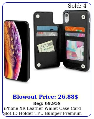 iphone xr leather wallet case card slot id holder tpu bumper premium cover blac