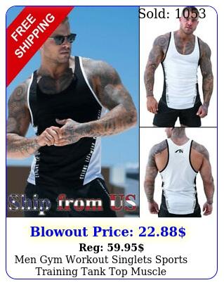 men gym workout singlets sports training tank top muscle bodybuilding tshir