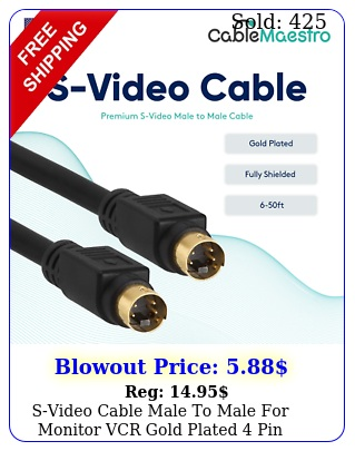 svideo cable male to male monitor vcr gold plated pin svideo wire f