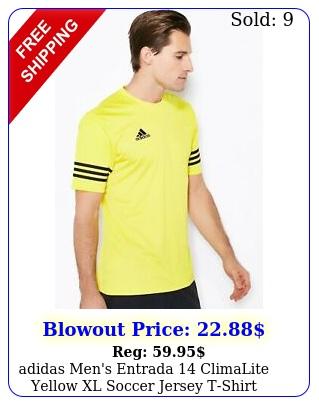 adidas men's entrada climalite yellow xl soccer jersey tshirt active to