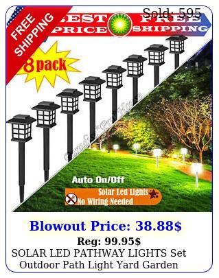solar led pathway lights set outdoor path light yard garden walkway lamp pac
