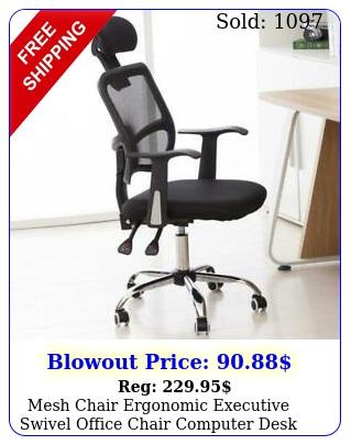 mesh chair ergonomic executive swivel office chair computer desk blac