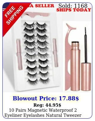 pairs magnetic waterproof eyeliner eyelashes natural tweezer long lashe