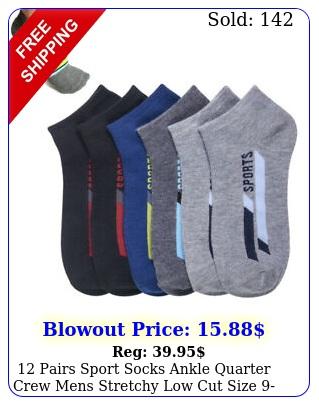 pairs sport socks ankle quarter crew mens stretchy low cut size assorte
