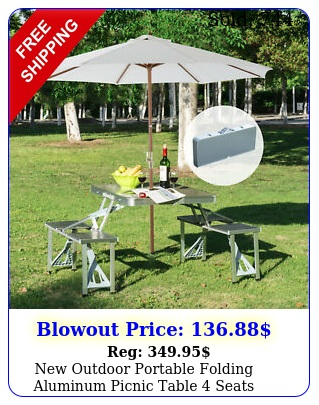 outdoor portable folding aluminum picnic table seats chairs camping wcas
