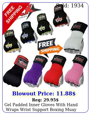 gel padded inner gloves with hand wraps wrist support boxing muay thai mitts mm