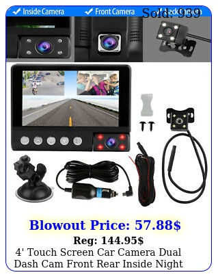 ' touch screen car camera dual dash cam front rear inside night vision gsenso