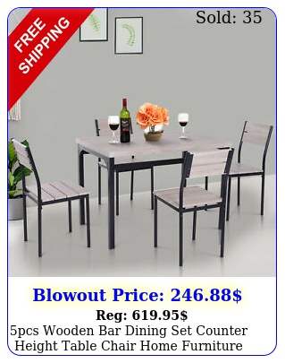 pcs wooden bar dining set counter height table chair home furniture kitche
