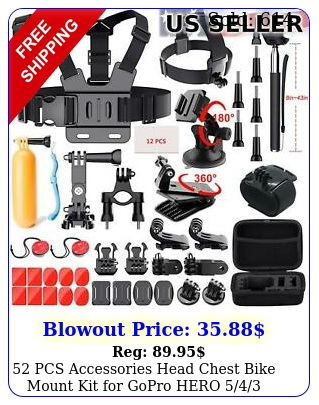 pcs accessories head chest bike mount kit gopro hero  camera