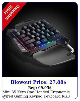 mini keys onehanded ergonomic wired gaming keypad keyboard rgb led backligh