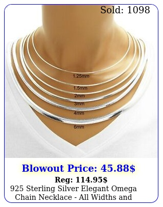 sterling silver elegant omega chain necklace all widths length