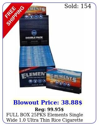 full pks elements single wide ultra thin rice cigarette rolling paper