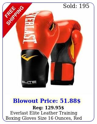 everlast elite leather training boxing gloves size ounces re