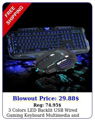 colors led backlit usb wired gaming keyboard multimedia dpi mouse se