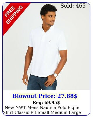 nwt mens nautica polo pique shirt classic fit small medium large xl x