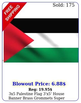 x palestine flag 'x' house banner brass grommets super polyeste