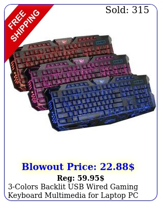 colors backlit usb wired gaming keyboard multimedia laptop p