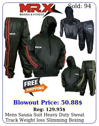 mens sauna suit heavy duty sweat track weight loss slimming boxing gym tracksui