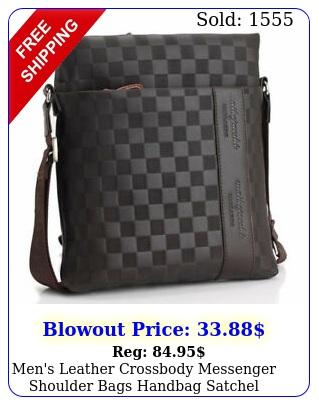 men's leather crossbody messenger shoulder bags handbag satchel casual day ba