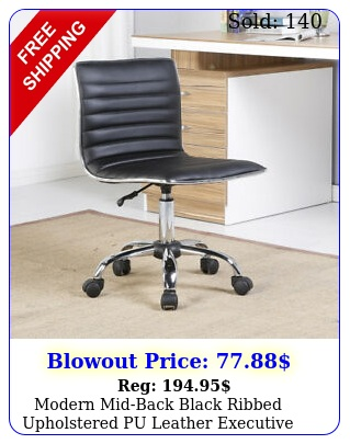 modern midback black ribbed upholstered pu leather executive office chair des