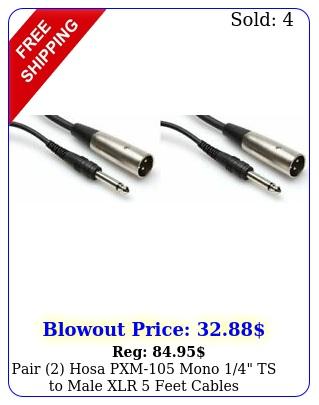 pair hosa pxm mono ts to male xlr feet cables unbalanced