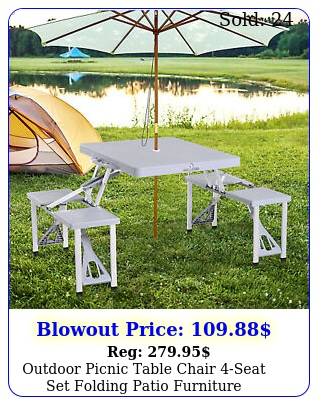 outdoor picnic table chair seat set folding patio furniture wumbrella hol