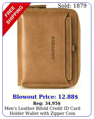 men's leather bifold credit id card holder wallet with zipper coin pocket purs