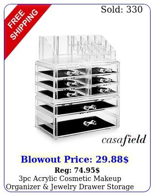 pc acrylic cosmetic makeup organizer jewelry drawer storage display cas