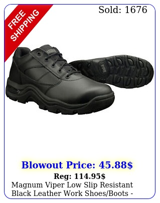 magnum viper low slip resistant black leather work shoesboots