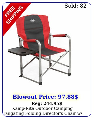 kamprite outdoor camping tailgating folding director's chair w side table re