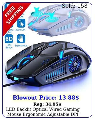 led backlit optical wired gaming mouse ergonomic adjustable dpi mice lapto
