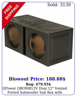 qpower qbombv dual vented ported subwoofer sub with bedliner spra
