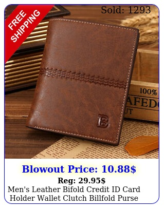 men's leather bifold credit id card holder wallet clutch billfold purs