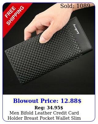 men bifold leather credit card holder breast pocket wallet slim purse checkboo