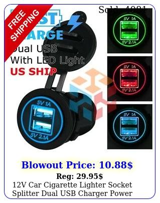 v car cigarette lighter socket splitter dual usb charger power adapter outle