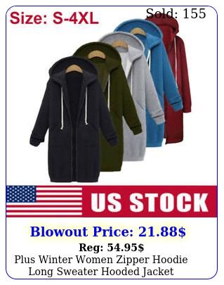plus winter women zipper hoodie long sweater hooded jacket sweatshirt coat sx