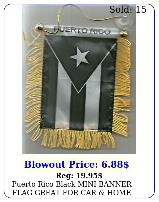 puerto rico black mini banner flag great car home glass hangin