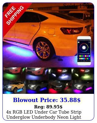 x rgb led under car tube strip underglow underbody neon light kit app contro