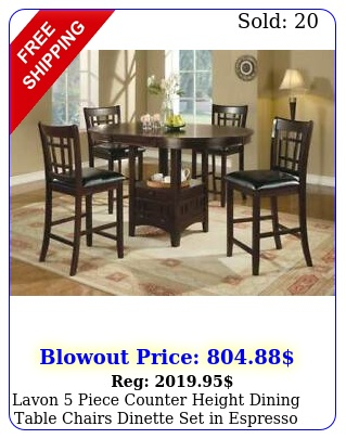 lavon piece counter height dining table chairs dinette set in espresso finis