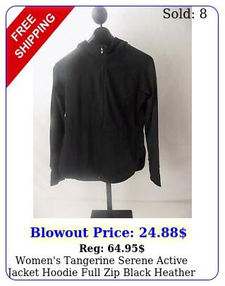 women's tangerine serene active jacket hoodie full zip black heather larg