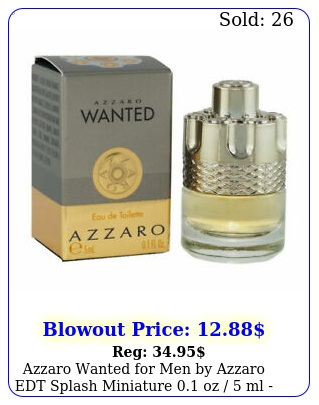 azzaro wanted men by azzaro edt splash miniature oz  ml in bo