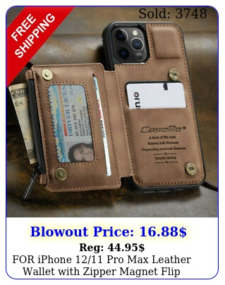 iphone pro max leather wallet with zipper magnet flip cover card cas