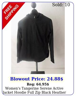 women's tangerine serene active jacket hoodie full zip black heather x
