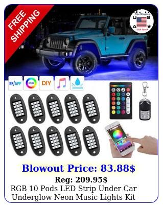 rgb pods led strip under car underglow neon music lights kit bluetooth app u