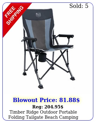 timber ridge outdoor portable folding tailgate beach camping lounge chair blac