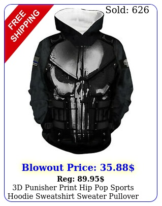 d punisher print hip pop sports hoodie sweatshirt sweater pullover jacket coa
