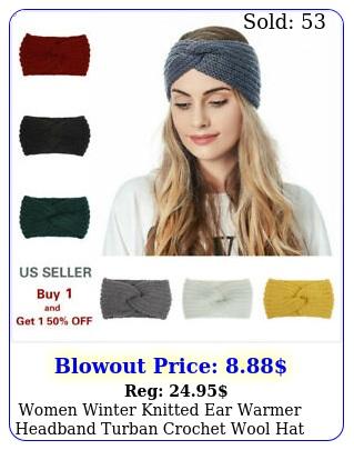 women winter knitted ear warmer headband turban crochet wool hat beani